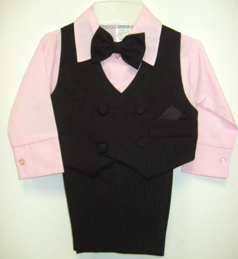 Babies Black Suit with Pink Shirt