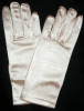 Girls Peach Satin Gloves